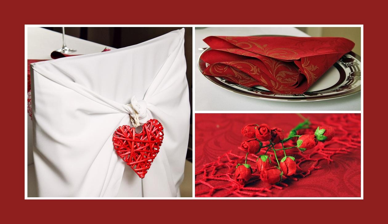 Deko Idee Hochzeit in Weiß-Rot Blumen Herz