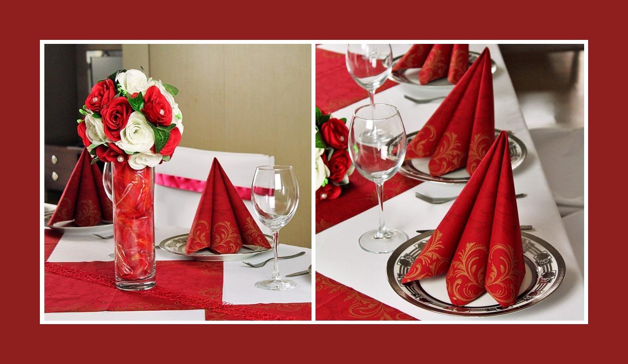 Deko Idee Hochzeit in Weiß-Rot Servietten falten