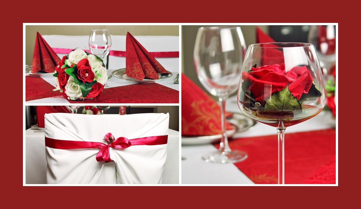 Deko Idee Hochzeit in Weiß-Rot Stuhlhussen