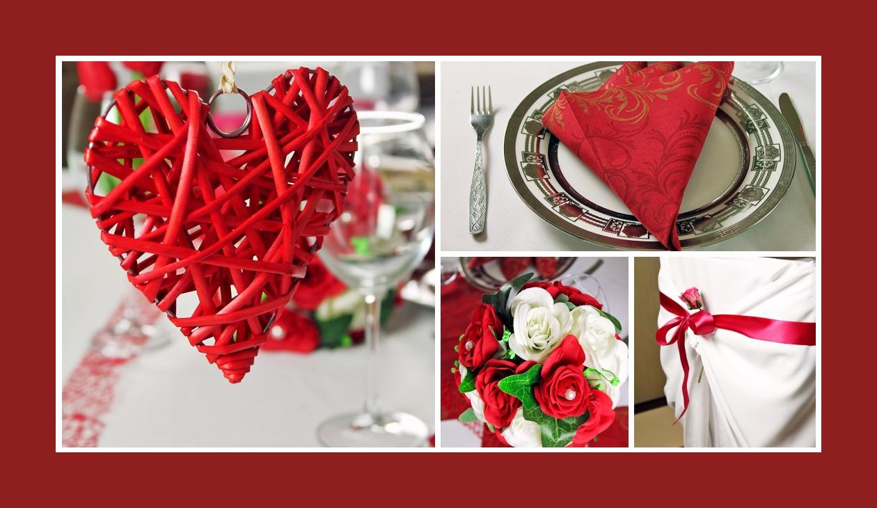 Deko Idee Hochzeit in Weiß-Rot