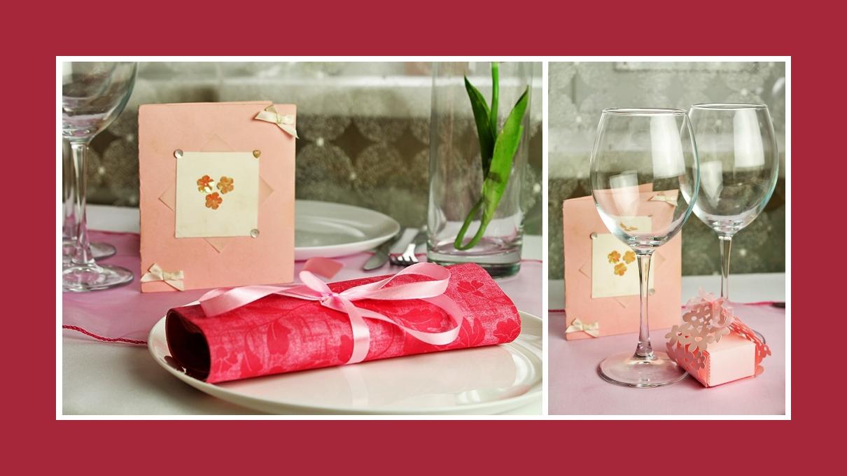 Deko Idee Taufe Mädchen Rosa Servietten falten