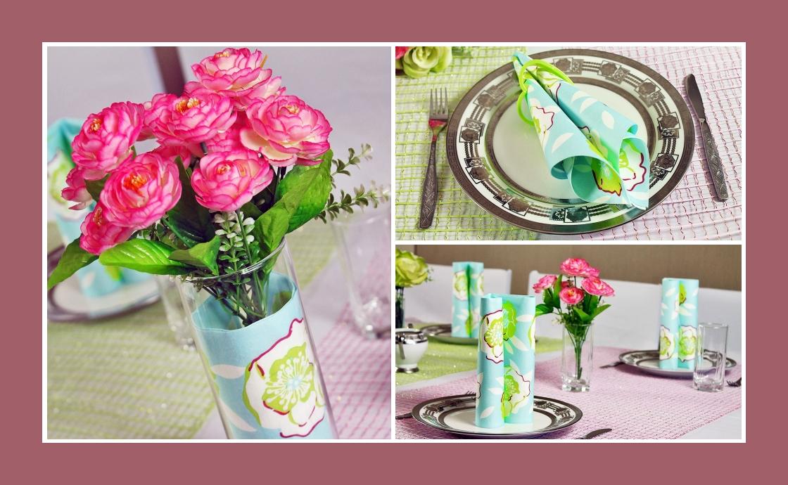 Deko Idee Hochzeit in Blau-Rosa Rosen