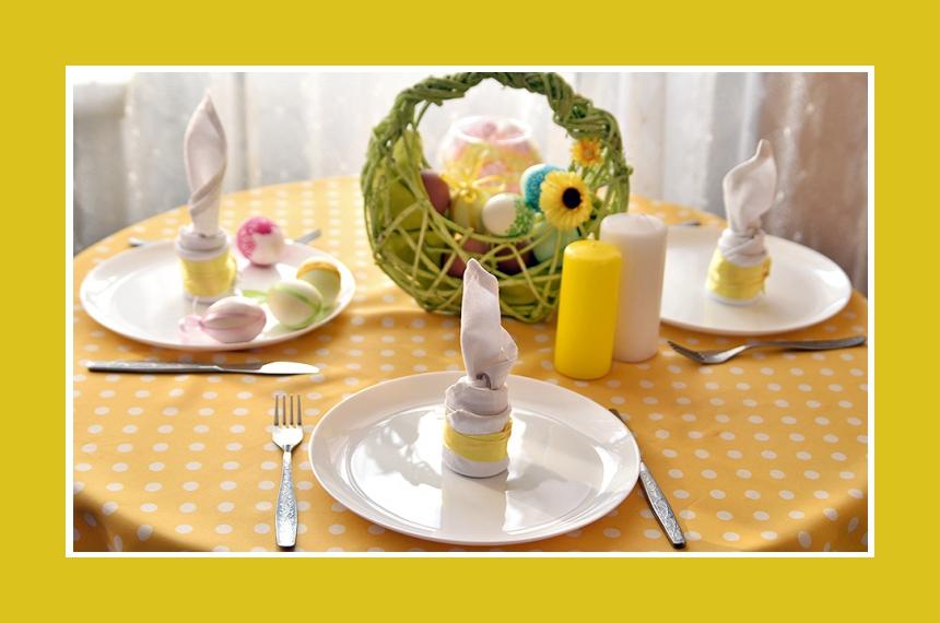 Deko Idee Ostern gelb Tischdeko
