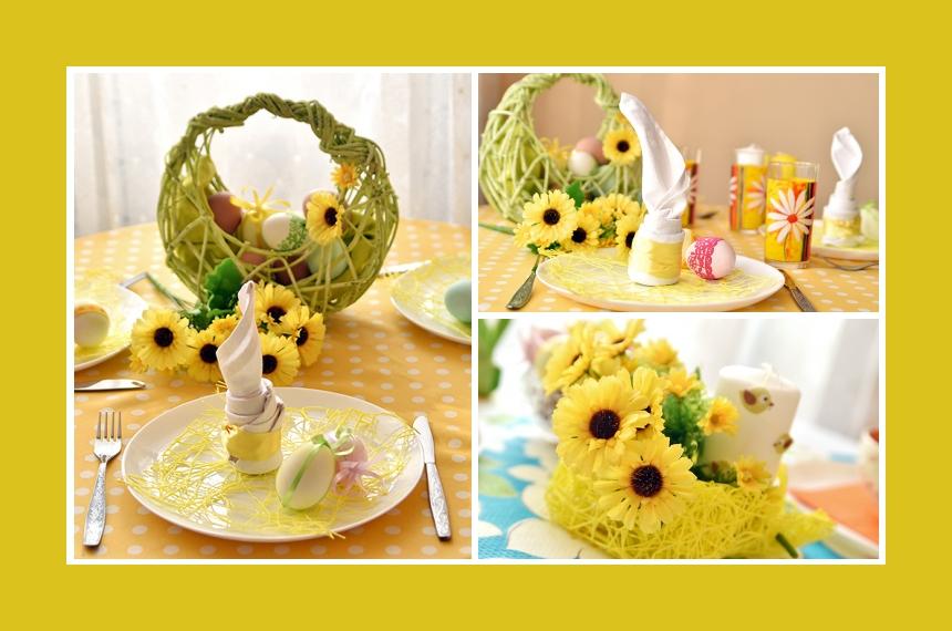 Deko Idee Ostern Ostereier Blumendeko gelb