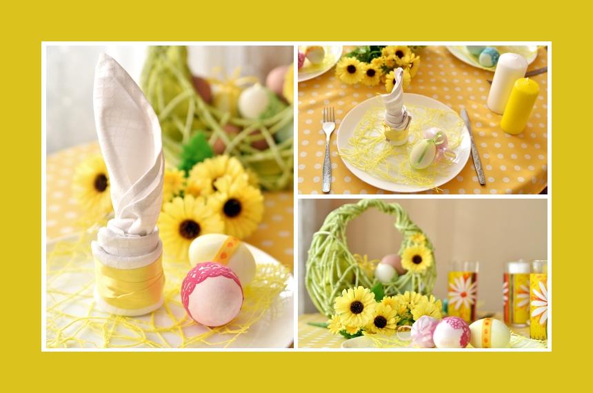 Deko Idee Serviette falten Kerze Ostern